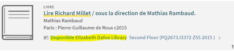 Disponible Elizabeth Dafoe Library
