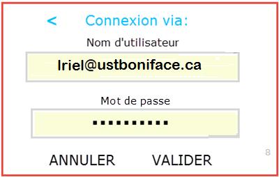 Nom d'utilisateur et mot de passe