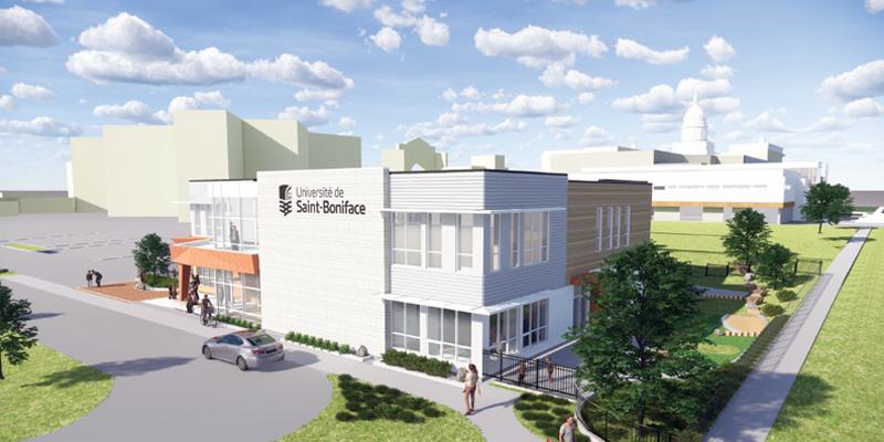 Une maquette architecturale du centre d'apprentissage et service de garde.