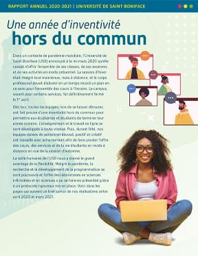 L'Université de Saint-Boniface, pilier de la communauté, tournée vers l'avenir. Rapport annuel 2021.