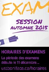 Horaires d'examens - automne 2015
