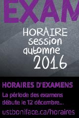 Horaire des examens de la session d'automne 2016
