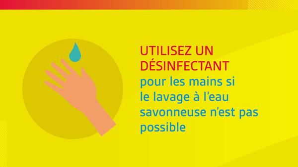 UTILISEZ UN DÉSINFECTANT pour les mains si le lavage à l'eau savonneuse n'est pas possible.