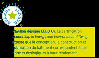 Pavillon désigné LEED Or. La certification Leadership in Energy and Environmental Design atteste que la conception, la construction et l'utilisation du bâtiment correspondent à des normes écologiques à haut rendement.