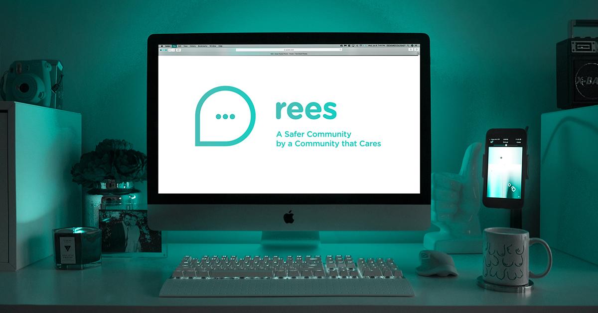 Écran d'ordinateur qui affiche le logo de REES.