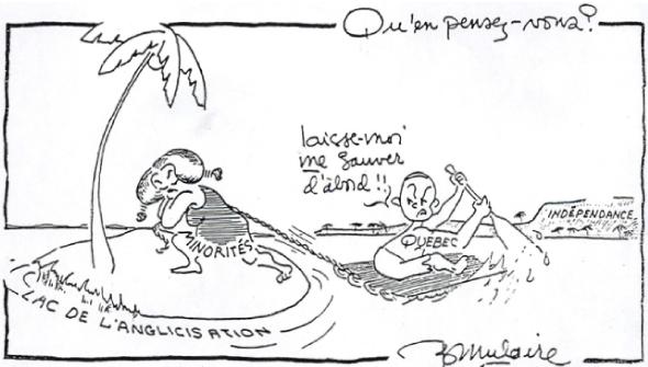 Caricature de Bernard Mulaire, ancien élève du Collège de Saint-Boniface