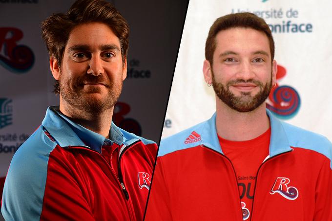 Guy Bourgeois et Evan Turenne, entraineurs de volleyball des Rouges de l'USB.