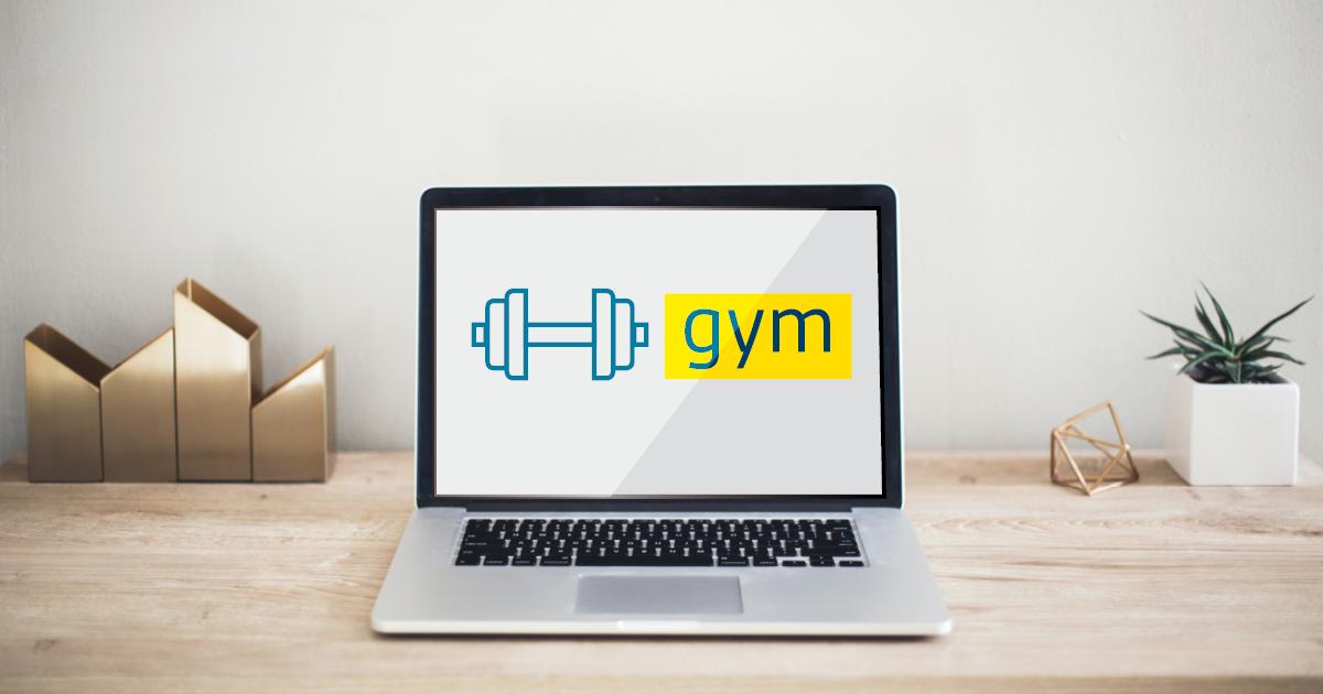 Portable sur un bureau affichant Gym sur l'écran.