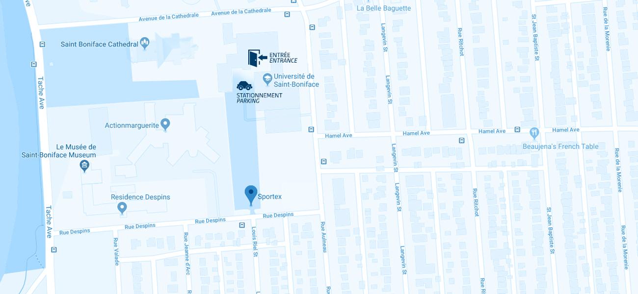 Carte qui indique où est le Sportex