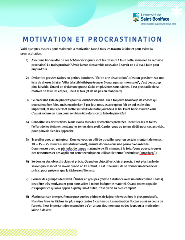 Motivation et procrastination.