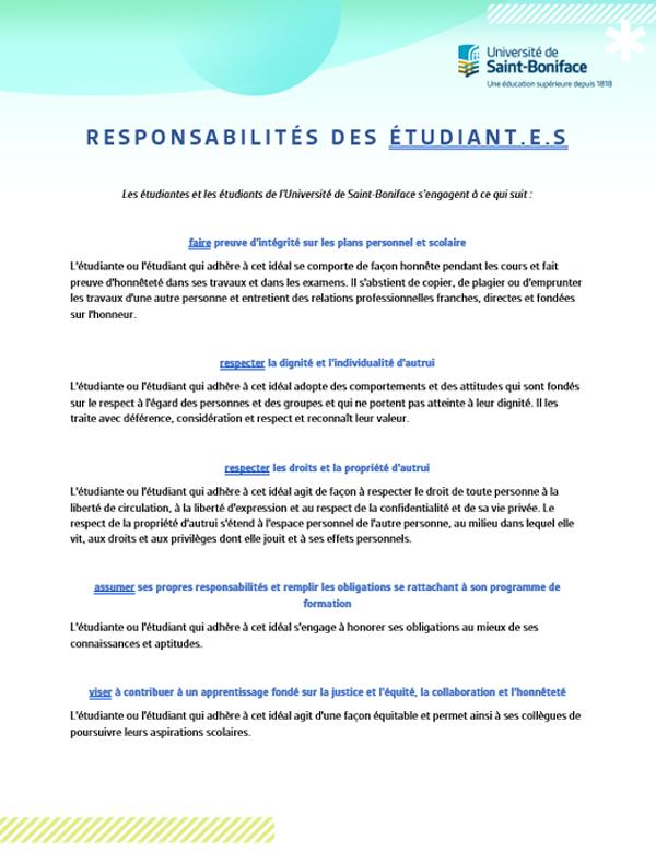 Responsabilités des étudiantes et étudiants.